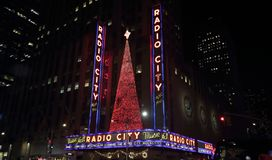 Radio City Hall, New York At Night royalty free stock image