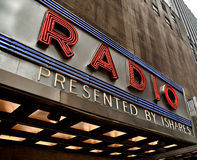 Radio City Music Hall. Partial Display of the Radio City Music Hall Sign Stock Photo