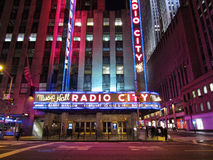 Radio City Music Hall. In New York City at night Royalty Free Stock Images