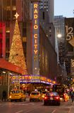 Radio City Music Hall exterior in New York during winter holiday stock images