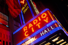 Radio City Music Hall neon sign Royalty Free Stock Images