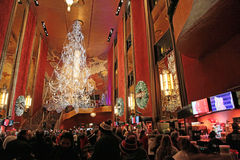 Radio City Music Hall, New York City. Main lobby of the Music Hall decorated for Christmas 2014 royalty free stock photo