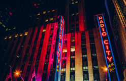 Radio City Music Hall at night, in Rockefeller Center, Manhattan Stock Photos