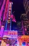 Radio City Music Hall Nowy Jork wieczór obraz royalty free