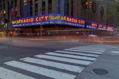 Radio City Music Hall at Rockefeller Center in New York, NY. New York, USA - May 6, 2018 : Corner of Radio City Music Hall, theater building at Rockefeller royalty free stock images