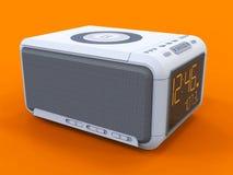 Radio clock-alarm clock on an orange background. 3d rendering. Royalty Free Stock Photos