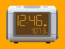 Radio clock-alarm clock on an orange background. 3d rendering. Radio clock-alarm clock on an orange background. 3d rendering stock illustration