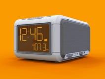Radio clock-alarm clock on an orange background. 3d rendering. Stock Photography
