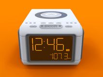 Radio clock-alarm clock on an orange background. 3d rendering. Royalty Free Stock Photo