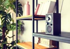Radio compacte sur l'étagère dans l'intérieur de cru du salon images libres de droits