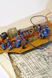 Radio componenten en electrocircuit 3. Stock Fotografie