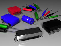 Radio components chips resistors capacitors Royalty Free Stock Photos