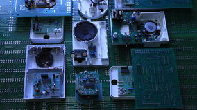 Radio components on electronic board stock footage