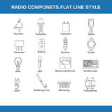 Radio components flat line style Royalty Free Stock Photography