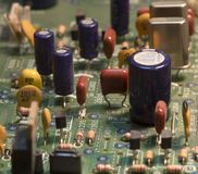 Radio components on a printed circuit board. Photo Close-up stock images