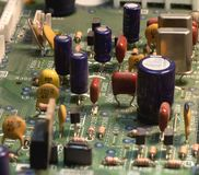Radio components on a printed circuit board. Photo Close-up royalty free stock photography
