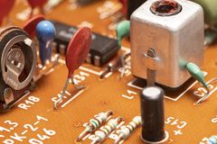 Radio components on a printed circuit board. Photo Close-up stock image