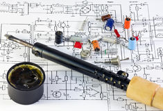 Radio components and the soldering iron Royalty Free Stock Images