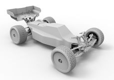 Radio control car illustration. 3D render illustration of a radio control car. The object is isolated on a white background with shadows Royalty Free Stock Image