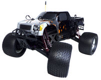Radio control nitro powered monster truck. 4.6cc Nitro powered radio control monster truck, isolated on white background Stock Photography
