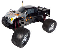 Radio control nitro powered monster truck. 4.6cc Nitro powered radio control monster truck, isolated on white background Royalty Free Stock Images