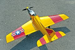 Radio control toy aircraft with electric motor Royalty Free Stock Photo