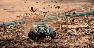 Radio controlled buggy car model in race Stock Images