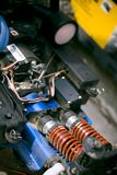 Radio controlled car engine. Close up of the methanol engine in a small, radio-controlled car Stock Photos