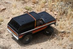 Radio controlled car. 1/10 scale radio control Ford truck are big, fast and simple. Powered by powerful dual electric motors, these remote controlled monster stock image