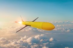 Radio-controlled homing rocket with acceleration flies at high altitude before hitting a target stock photos
