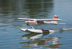 Radio controlled hydroplane taking off Royalty Free Stock Image