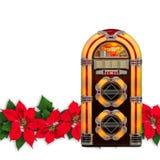 Radio de la máquina tocadiscos con el ornamento rojo de la Navidad de la flor de la poinsetia Imagen de archivo