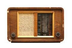 Radio di legno isolata su bianco immagine stock