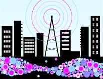 Radio di musica e la città illustrazione vettoriale