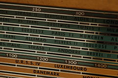 Radio dial. Vintage radio dial with european cities and countries Stock Photo