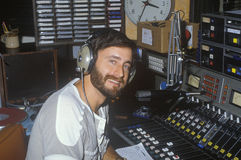 Radio disc jockey. For station KFI in his studio, Los Angeles, CA Royalty Free Stock Photos