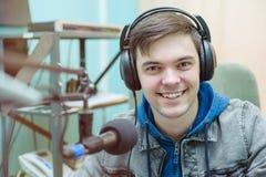 Radio DJ del ritratto dell'uomo Fotografia Stock