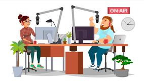 Radio DJ Man And Woman Vector. Broadcasting. Modern Radio Station Studio. Speak Into The Microphone. On Air Royalty Free Stock Image
