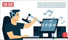 Radio Dj på luft i radiostudion som spelar illustrationen för design för lägenhet för musiksångTV-sändning coolt Arkivfoto