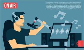 Radio Dj på luft i radiostudion som spelar illustrationen för design för lägenhet för musiksångTV-sändning coolt Arkivbild