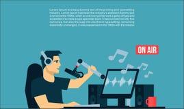 Radio Dj på luft i radiostudion som spelar illustrationen för design för lägenhet för musiksångTV-sändning coolt Royaltyfria Bilder
