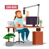 Radio-DJ Vector Moderner Radiosender studio Auf Luft sendung Lokalisierte flache Karikaturillustration stock abbildung