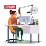 Radio DJ Woman Vector. Broadcasting. Modern Radio Station. Female Speak Into The Microphone. On Air. Broadcasting Royalty Free Stock Photography