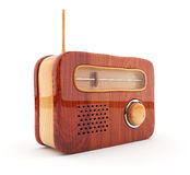 Radio en bois 3D. Rétro type. Sur le fond blanc Images libres de droits
