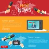 Radio en línea global de las telecomunicaciones TV de las banderas de las noticias de mundo Fotos de archivo libres de regalías