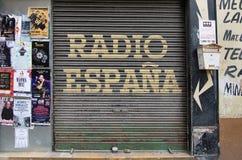 Radio Espana door. PALMA DE MALLORCA, BALEARIC ISLANDS, SPAIN - APRIL 5, 2016: Corrugated iron garage door with printed words Radio Espana in Palma de Mallorca Stock Photos