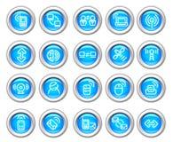 radio för silvero för glansig symbol för apparat set Royaltyfria Bilder