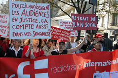 Radio France International demonstrates in Paris Royalty Free Stock Image