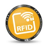 Radio Frequency Identification RFID - Glossy Web Button - Isolated On White Stock Image