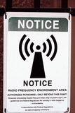 Radio Frequency Notice. Notice of radio frequency area surrounding antenna tower Royalty Free Stock Photography